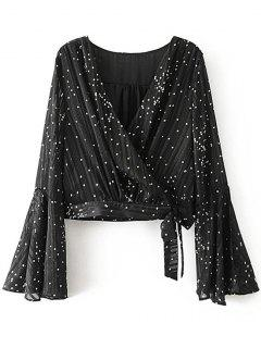 Self Tied Polka Dot Wrap Blouse - Black M