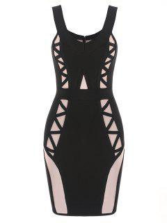 Off Shoulder Mesh Panel Bandage Dress - Black S