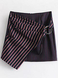 Tiered Metallic Rings Contrast Stripes Mini Skirt - Stripe L