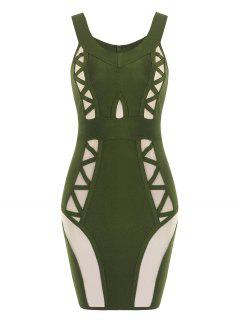Off Shoulder Mesh Panel Bandage Dress - Army Green L