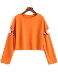 Cut Out Lace Up Sweatshirt - Orange M