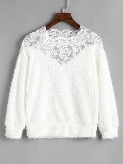 Sweat-shirt Texturé à Panneau En Dentelle - Blanc