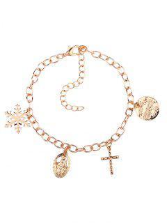 Christmas Snowflake Crucifix Jesus Charm Bracelet - Golden
