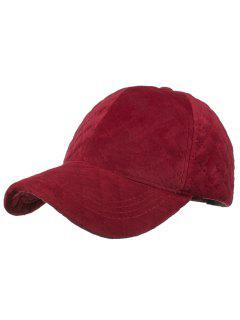 Rhombus Pattern Embroidery Adjustable Baseball Cap - Red