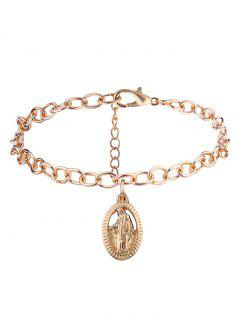 Oval Engraved Jesus Chain Charm Bracelet - Golden