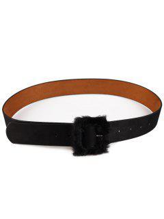 Cinturón De Cuero De Faux Decorado Con Hebilla Peluda - Negro