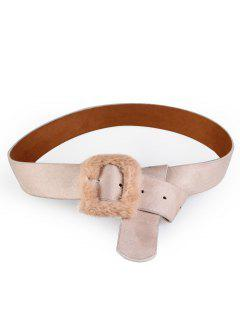 Furry Buckle Decorated Faux Leather Waist Belt - Apricot