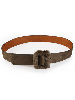 Furry Buckle Decorated Faux Leather Waist Belt - Army Green
