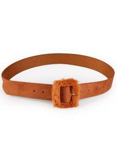Furry Buckle Decorated Faux Leather Waist Belt - Chocolate
