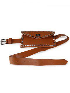 Mini Rivet Bag Decoration Faux Leather Skinny Belt - Chocolate