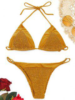 Neckholder Smocked String Bikini Set - Ingwer-gelb S