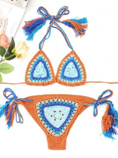 Reversible Quaste Crochet Bikini Set - Orange