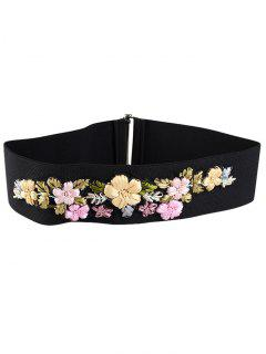 Rhinestone Floral Decorated Elastic Wide Waist Belt - Pink And Yellow And Green