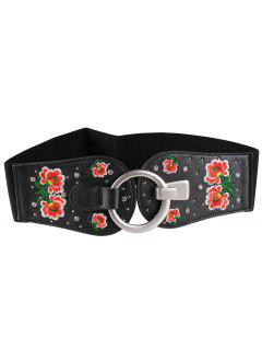Round Buckle Floral Embroidery Decorated Wide Waist Belt - Pattern D