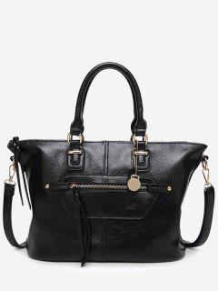 Front Zip Faux Leather Handbag With Strap - Black