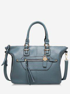 Front Zip Faux Leather Handbag With Strap - Blue