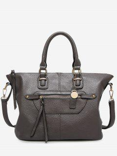 Front Zip Faux Leather Handbag With Strap - Gray