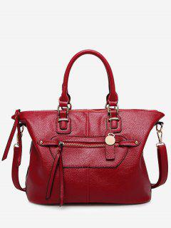 Front Zip Faux Leather Handbag With Strap - Wine Red