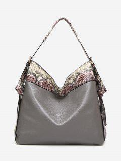 Faux Leather Snakeskin Shoulder Bag - Gray