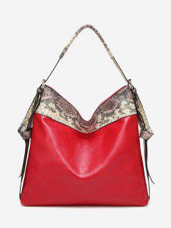Faux Leather Snakeskin Shoulder Bag - Red