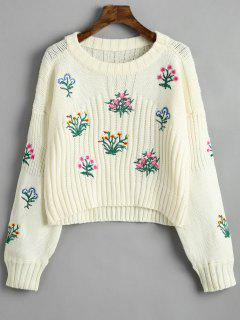 Crew Neck Floral Patched Sweater - Beige