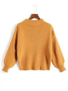 Plain Mock Neck Laterne Ärmel Pullover - Ingwer-gelb