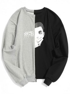 Graphic Two Tone Sweatshirt - Black And Grey L