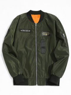 Graphic Patch Bomber Jacket - Army Green Xl