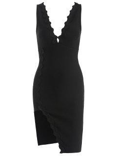 Cut Out Plunge Bandage Dress - Black L