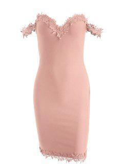 Off Shoulder Lace Panel Bandage Dress - Pink S