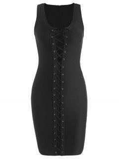 U Neck Lace Up Bandage Dress - Black L