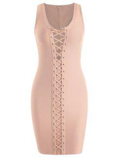 U Neck Lace Up Bandage Dress - Apricot M