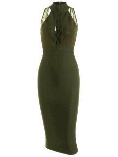 Vestido De Malla Mesh Panel Criss Cross - Ejercito Verde M
