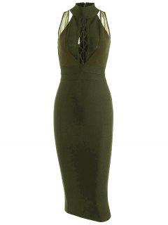 Mesh Panel Criss Cross Bandage Dress - Army Green L