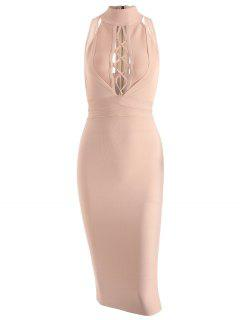 Mesh Panel Criss Cross Bandage Dress - Apricot M