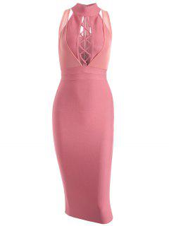 Mesh Panel Criss Cross Bandage Dress - Pink L
