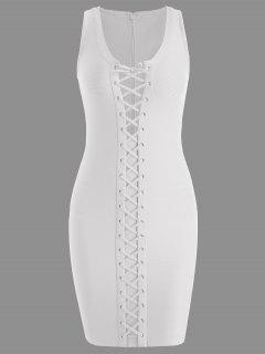 U Neck Lace Up Bandage Dress - White L