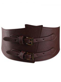 Metal Buckle Two Holes Decoration Wide Waist Belt - Chocolate