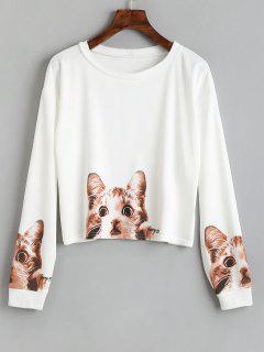 Cute Cat Print Long Sleeve Crop T-shirt - White S
