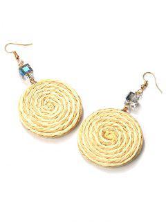 Faux Crystal Ethnic Braid Round Hook Earrings - Golden