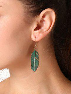 Alloy Retro Leaf Hook Drop Earrings - Green