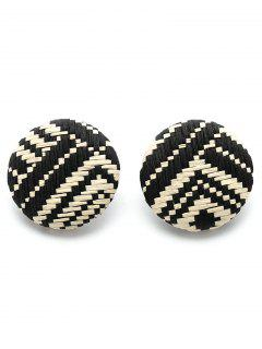 Two Tone Round Braid Clip On Earrings - Black