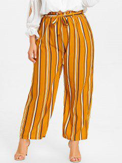 Striped Plus Size Palazzo Pants - Yellow 2xl