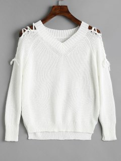 V Neck Raglan Sleeve Lace Up Sweater - White