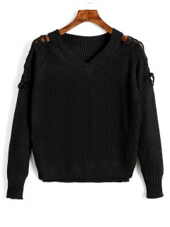 V Neck Raglan Sleeve Lace Up Sweater - Black