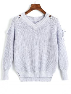 V Neck Raglan Sleeve Lace Up Sweater - Grey Blue