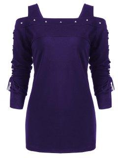 Camiseta Manga Larga Con Cordones Y Hombros Descubiertos Rivet - Azul Violeta 2xl