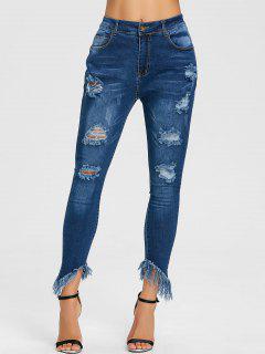 Raw Hem Distressed Skinny Jeans - Deep Blue L