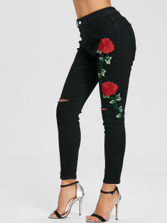 Flower Embroidered Knee Ripped Skinny Jeans - Black 2xl