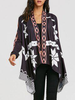 Asymmetrical Printed Open Front Cardigan - Black Xl